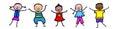 Stick figure kids dancing Royalty Free Stock Photo