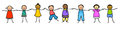 Stick figure kids holding hands row of happy multi ethnic feel free to edit this image Royalty Free Stock Image