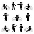 Stick figure man and woman drinking coffee set. Vector illustration of resting people on sofa.