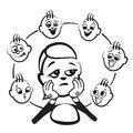 Stick figure series emotions - admiration Royalty Free Stock Photo