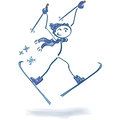 Stick figure on skiers