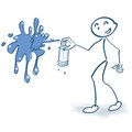 Stick figure with spray can an color Royalty Free Stock Image