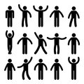 Stick figure standing position. Posing person icon posture symbol sign pictogram on white.