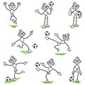 Stick figure stickman soccer football player set of vector figures playing in different poses Royalty Free Stock Photo