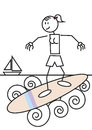 Stick figure surfing female of a girl in the beach sports and leisure concept Stock Photo