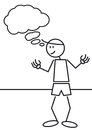 Stick figure thinking illustration of a of a man Royalty Free Stock Photo