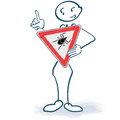 Stick figure with a ticks sign before the body Royalty Free Stock Photo