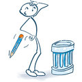 Stick figure with trash can