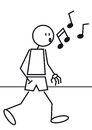 Stick figure whistling a is walking and with a hand in the pocket Royalty Free Stock Photography