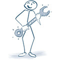 Stick figure with a wrench Royalty Free Stock Photo