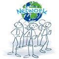 Stick figures and network around the world Royalty Free Stock Photo
