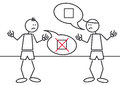Stick figures controversy illustration of two in a or discussion Royalty Free Stock Photos