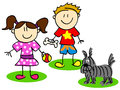 Stick figures with dog fun figure cartoon kids little boy and girl playing Stock Images