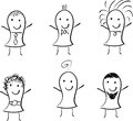 Stick figures doodle children characters six made by hand by a child Stock Photography