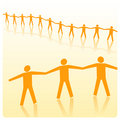 Stick figures holding each others hands Stock Photography