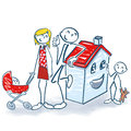 Stick figures with house and home for small family Royalty Free Stock Photo