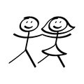 Boy and a girl stick figures Royalty Free Stock Photo