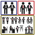 Stick icon of business man and woman in action many Stock Photos