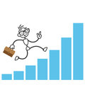 Stick man stick figure successful running charts vector illustration busy on growing income Royalty Free Stock Image