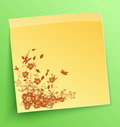 Stick note with abstract flowers background Royalty Free Stock Image