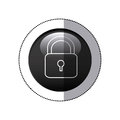 sticker black circular frame with padlock icon Royalty Free Stock Photo