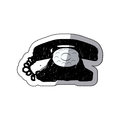 sticker black silhouette antique phone design with cord Royalty Free Stock Photo