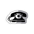 sticker black silhouette old phone design with cord Royalty Free Stock Photo
