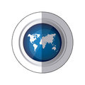 sticker blue circular button with silhouette world map Royalty Free Stock Photo