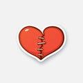 Sticker broken heart Royalty Free Stock Photo