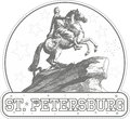 Sticker with Bronze Horseman monument in St. Petersburg