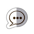 sticker brown silhouette speech bubble with suspending points icon Royalty Free Stock Photo