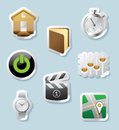 Sticker button set icons for signs and interface vector illustration Royalty Free Stock Photos