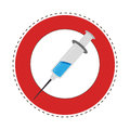 Sticker circular border with Needle syringe with liquid and inchs