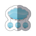 sticker cloud storage connected with set circular figures Royalty Free Stock Photo