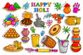 Sticker collection for Holi holiday celebration object