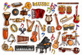Sticker collection for music and entertainment instrument object