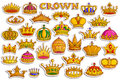 Sticker collection for ornamental Gold Heraldic Crown for King and Queen