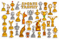 Sticker collection for Sports Victory Gold Cups and Trophy