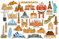 Sticker collection for world famous monument and building Royalty Free Stock Photo