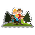 Sticker colorful landscape with family nucleus
