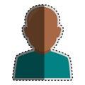 Sticker colorful silhouette faceless half body brunette bald man