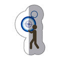 sticker colorful worker holding up compass of hand Royalty Free Stock Photo