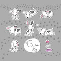 Sticker with cute cartoon dogs. Vector illustration.