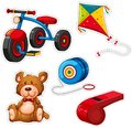 Sticker design with tricycle and other toys Royalty Free Stock Photo