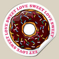 Sticker with donut vector cartoon Stock Images