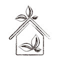 sticker eco houese with leaves icon Royalty Free Stock Photo