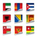 Sticker flags raster version of vector set of world contain the clipping path there is in addition a vector format eps Stock Photo