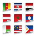 Sticker flags raster version of vector set of world contain the clipping path there is in addition a vector format eps Royalty Free Stock Photo
