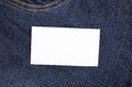 Sticker in front pocket blue jeans Royalty Free Stock Photo