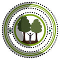 Sticker green circular frame with man in nature with trees